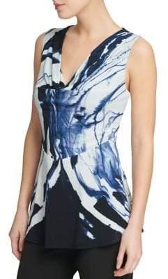 Donna Karan Print Cowlneck Fit-&-Flare Blouse