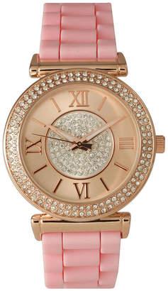 OLIVIA PRATT Olivia Pratt Womens Rhinestone Bezel Goldtone And Rhinestone Dial Light Pink Silicone Watch 40034Light Pink