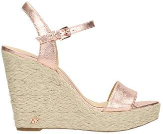 Michael Kors Jill Sandals In Pink Leather