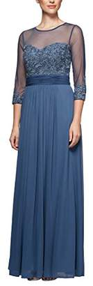 Alex Evenings Women's Long a-Line Dress with Sleeves (Petite and Regular Sizes)