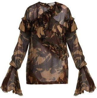Preen by Thornton Bregazzi Bella Camouflage Print Silk Chiffon Blouse - Womens - Multi
