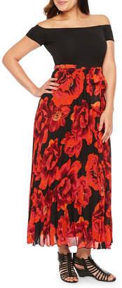 PREMIER AMOUR Premier Amour Short Sleeve Floral Maxi Dress
