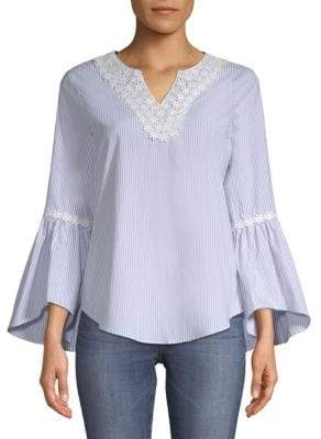 Spense Striped Floral Lace Blouse