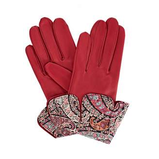 Gizelle Renee - Palesa Fucshia Pink Leather Gloves With BB Liberty Tana Lawn