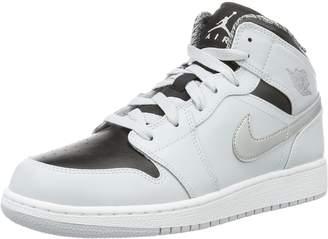 Nike Jordan Kids Air Jordan 1 Mid Bg White/Black/White Basketball Shoe 4 Kids US