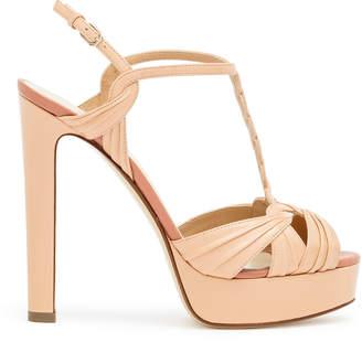 Francesco Russo Nude braided leather platform sandals