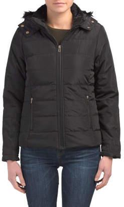 Juniors Puffer Coat With Faux Fur Hood