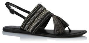Bell Black Tassel Trim Bead Embellished Sandals