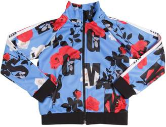 MSGM Roses Printed Zip-Up Track Jacket
