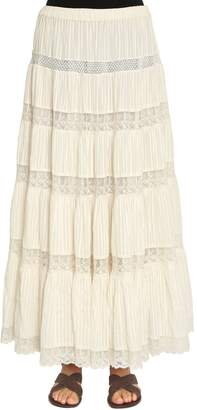 Mes Demoiselles Cotton Lace & Gauze Long Skirt