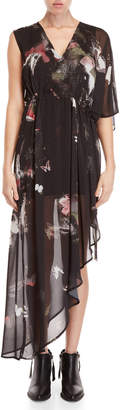 Religion Virtual Printed Asymmetrical Maxi Dress