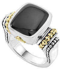 Lagos Caviar Color Onyx Ring, Size 7