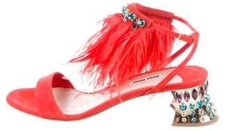 Miu Miu Embellished Feather-Trimmed Sandals