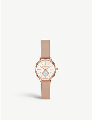 Michael Kors MK2752 Portia rose-gold stainless steel and leather watch
