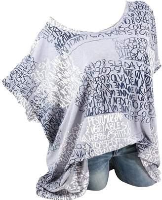 OTW-Women Loose Fit Summer Letter Print Casual Stylish Plus Size T-Shirt Top Blouse 3XL