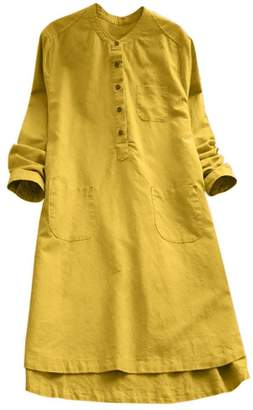 Muranba Dress Muranba Women's Long Sleeve Dress Cotton Oversized Casual Maxi Long Shirt Dress (, 2XL)