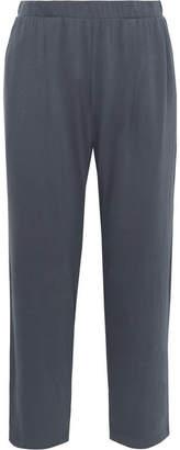 Skin - Everywhere Cropped Organic Pima Cotton-jersey Pajama Pants - Midnight blue