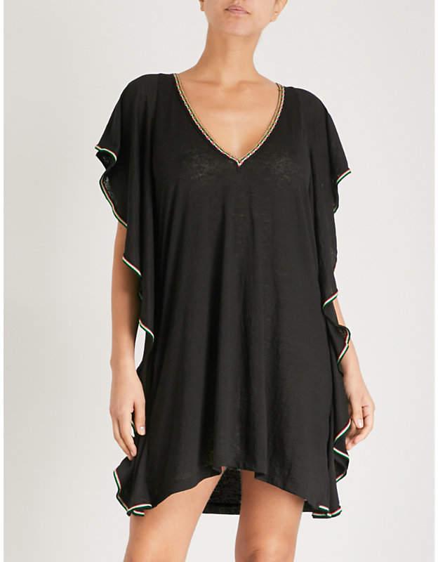 Flare cotton-blend mini dress