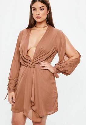 Missguided Plus Size Mocha Twist Front Tie Cuff Dress
