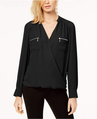 INC International Concepts I.n.c. Zipper-Pocket Surplice Blouse, Created for Macy's