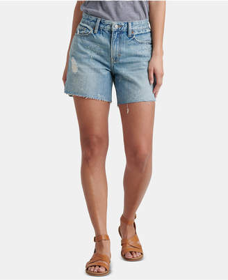 Lucky Brand Cotton Printed Distressed Boyfriend Shorts