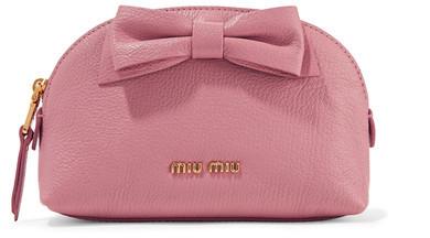 Miu MiuMiu Miu - Bow-embellished Textured-leather Cosmetics Case - Antique rose