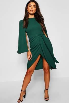 boohoo Cape Tailored Belted Midi Dress