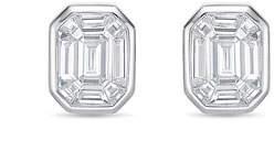 Memoire Emerald-Illusion Diamond Baguette Stud Earrings