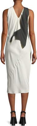 Neiman Marcus Urban Zen Sleeveless Side-Tucked Midi Dress