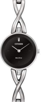 Citizen Analog Silhouette Bangle Silvertone Stainless Steel Watch