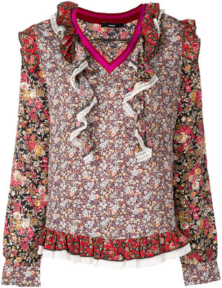 Diesel floral embroidered frill blouse