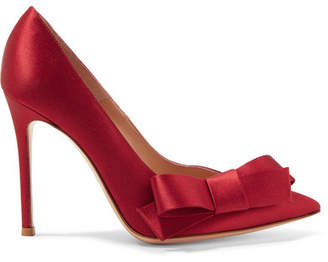 Gianvito Rossi Kyoto 100 Bow-embellished Satin Pumps - Claret