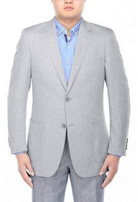 Verno Men's Grey Herringbone Textured Classic Fit Italian Styled Blazer