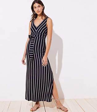 eb063e476c1 LOFT Beach Striped Tie Waist Maxi Dress