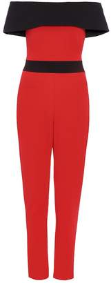 Quiz Red And Black Bardot Jumpsuit