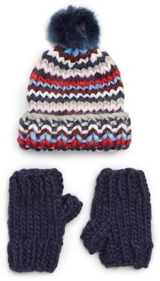 Trouve Chunky Stitch Beanie with Faux Fur Pom & Fingerless Gloves Gift Set