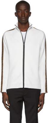 Fendi White Forever Zip-Up Sweater