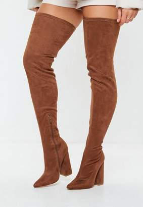 Missguided Brown Over The Knee Boots