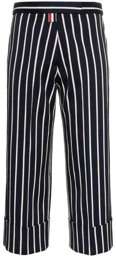 cropped stripe silk trousers