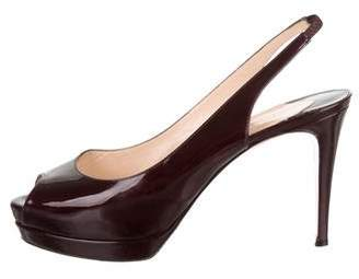 Christian Louboutin Patent Leather Slingback Pumpd