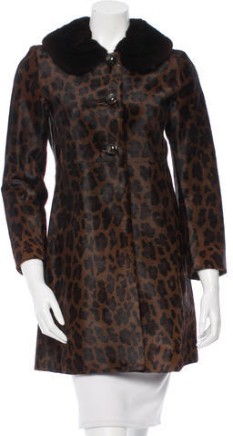pradaPrada Mink-Trimmed Ponyhair Coat