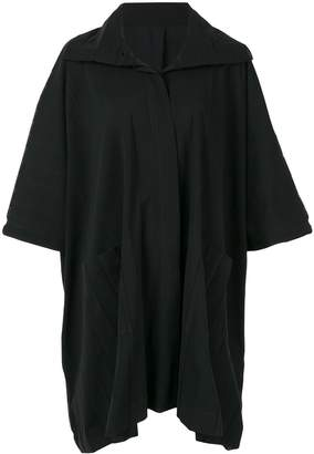 Issey Miyake wide pleated boxy poncho coat