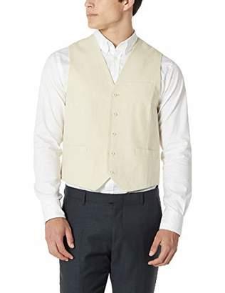 Isle Bay Linens Men's Linen-Blend Dress Slim Fit Vests Suit Vests Button Closure