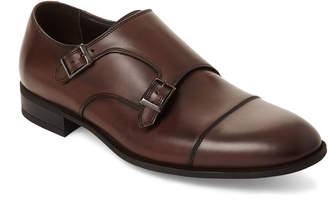 Bruno Magli Dark Brown Leather Ilario Double Monk Strap Shoes