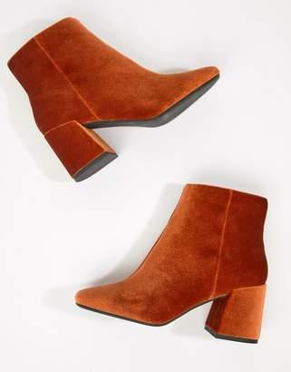 Asos DESIGN Rural velvet ankle boots