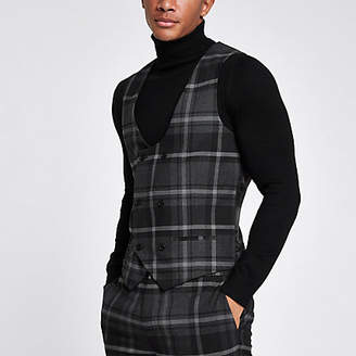 River Island Grey check smart vest