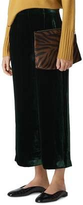 Whistles Cropped Wide-Leg Velvet Pants