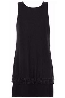 Theory Layered Fringed Cady Mini Dress
