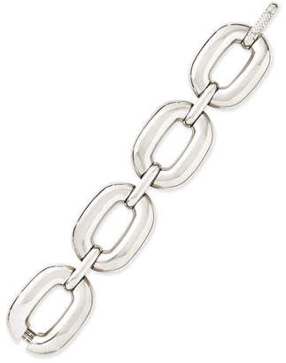 Roberto Coin Bold White Gold Large-Link Bracelet with Diamond Clasp
