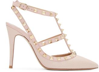 Valentino Pink Rockstud Cage Heels $1,075 thestylecure.com
